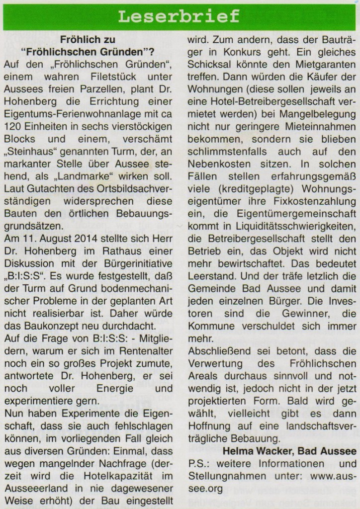 Leserbrief Alpenpost  2.10.2014