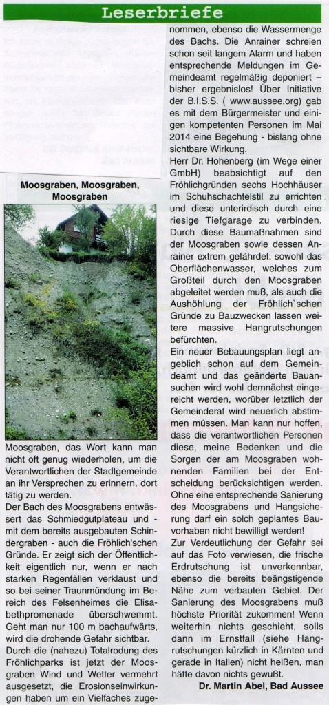 Leserbrief in der Alpenpost vom 20.11.14